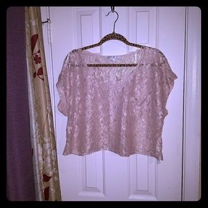 Forever 21 Butterfly Lace Crop Top Blush Nude